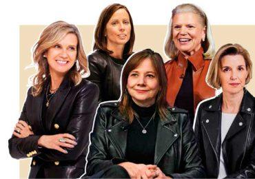La chamarra de cuero, símbolo de poder | De izquierda a derecha: Michelle Gass, CEO y directora de Kohl's; Adena Friedman, CEO de Nasdaq / Fotos: Bloomberg; Mary Barra, CEO de General Motors; Ginni Rometty, CEO de IBM; Sallie Krawcheck, CEO de Ellevest / Fotos: Getty Images