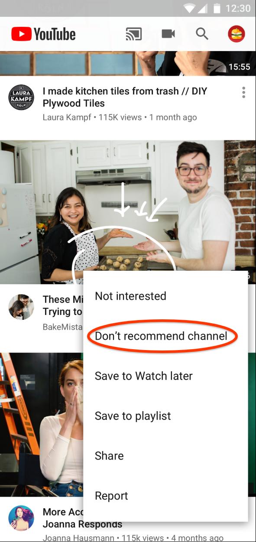 Eliminar las sugerencias de los canales que no quieras ver | Imagen: cortesía YouTube México