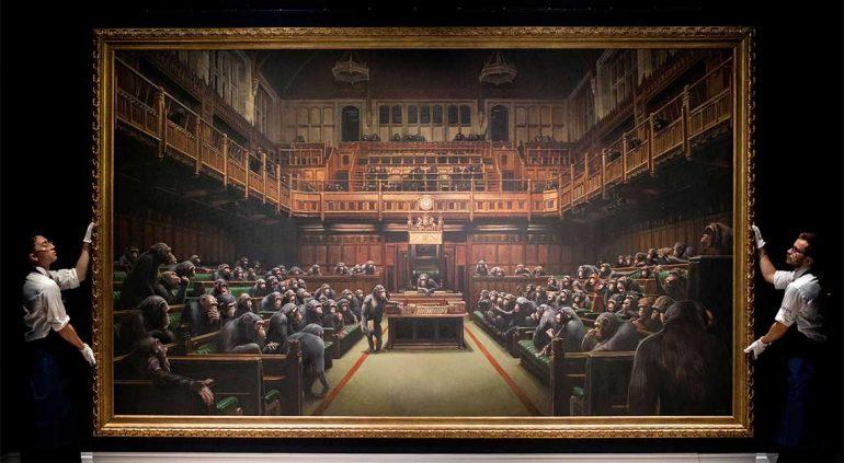 Devolved Parliament, obra de Banksy | Foto: AFP