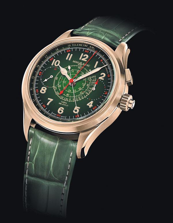 El 1858 Split Second Chronograph Edición Limitada 8 se anunció en nuestro país con un verde muy mexicano. | Foto: Cortesía Montblanc