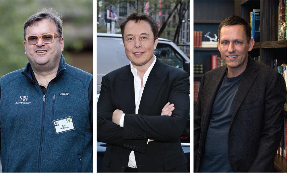 Reid Hoffman, de LinkedIn; Elon Musk, de Tesla; y Peter Thiel, de Venture Capital, son la cara masculina de la primera generación de emprendedores que ayudaron a crear la primera tanda de startups de Silicon Valley. | Fotos: Getty Images