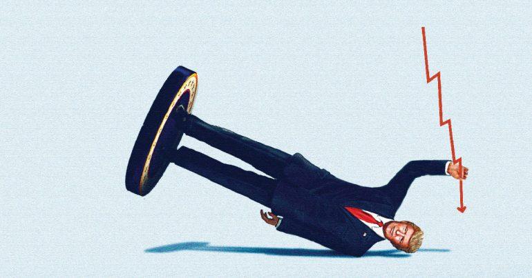 Trump, el primer presidente multimillonario de Estados Unidos prometió llevar la sensibilidad de los ejecutivos de las compañías a la Oficina Oval. Ha mandado la confianza de los directores de empresas estadounidenses al nivel más bajo en una década. | Ilustración: Nicolás Ortega